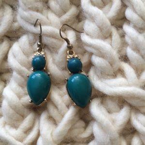 Blue green gold drop earrings